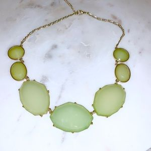 Mint green lucite bauble bar necklace